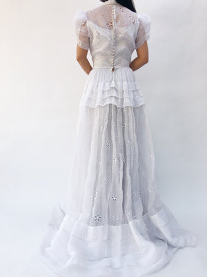 RESERVED 1950s Light Gray Organdy Eyelet Gown - S