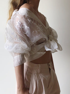 Vintage Silk Organza Embroidered Top - S/M