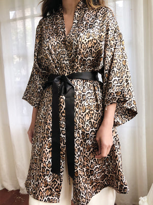 Satin Animal Print Robe - OSFM