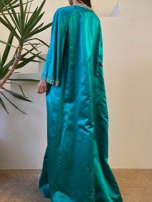 1960s Emerald Silk Satin Long Duster - M/L