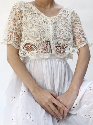 Antique Duchesse Lace Cropped Top - S