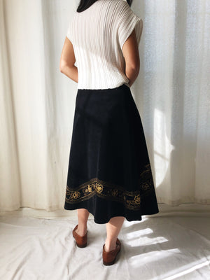 Vintage Black Corduroy Embroidered Skirt with Beading - M