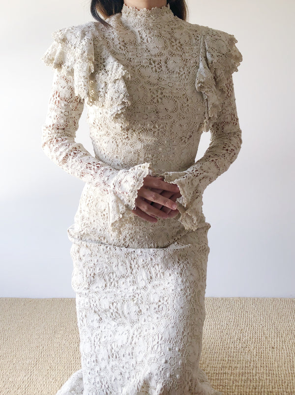 1970s Beige Lace Long Sleeve Gown  - XS