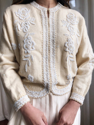 1950s Beaded Cashmere/Wool Cardigan - S/M