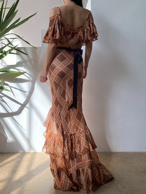 1930s Rust/Brown Striped Gown - XS/S