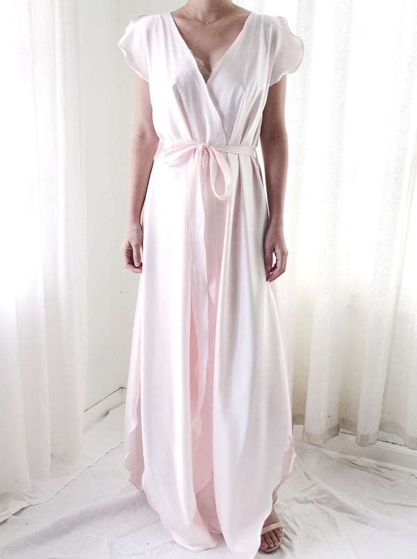 1980s Light Pink Satin Petal Dressing Gown - S/M