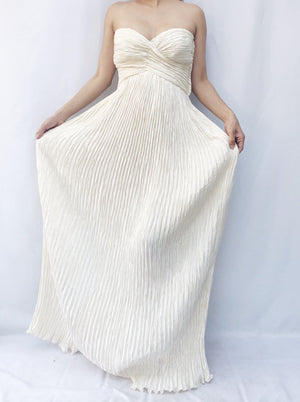 1980s Mary McFadden Pleated Strapless Dress - M