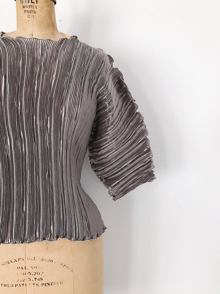 Vintage Dusty Lavender Pleated Top - S/M