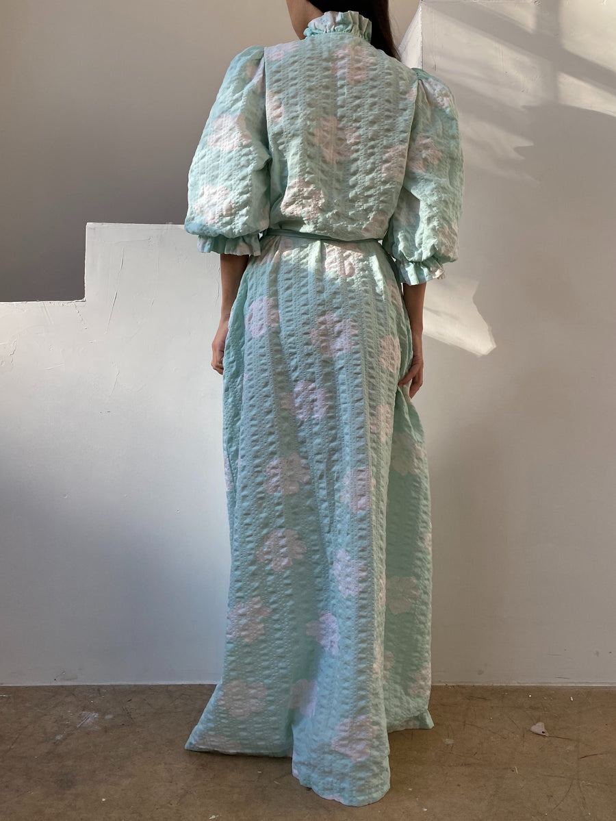 1960s Seafoam Cotton Puff Sleeves Dressing Gown - XS- M