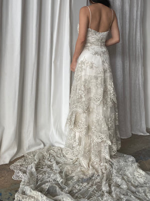 Lace Beaded Floral Gown - S/4