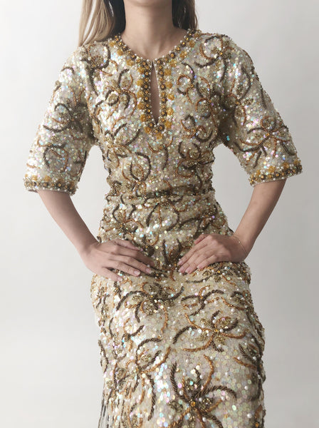 1960s Gene Shelly Beaded Wool Dress - M/L