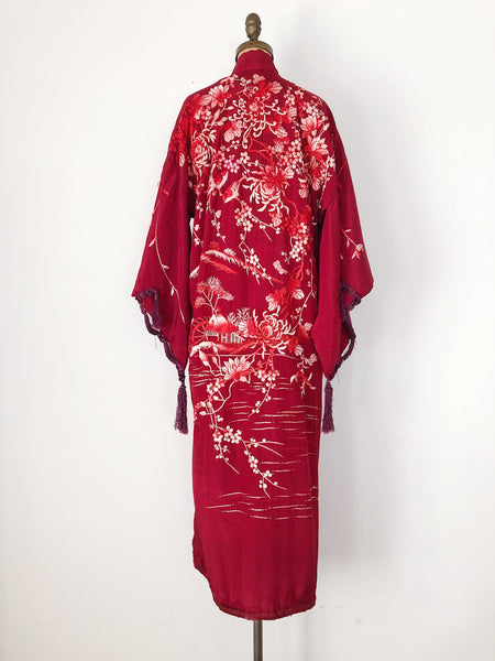 Antique Silk Embroidered Kimono - One Size