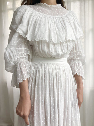 Antique Embroidered Dotted Cotton Lace Dress - XXS