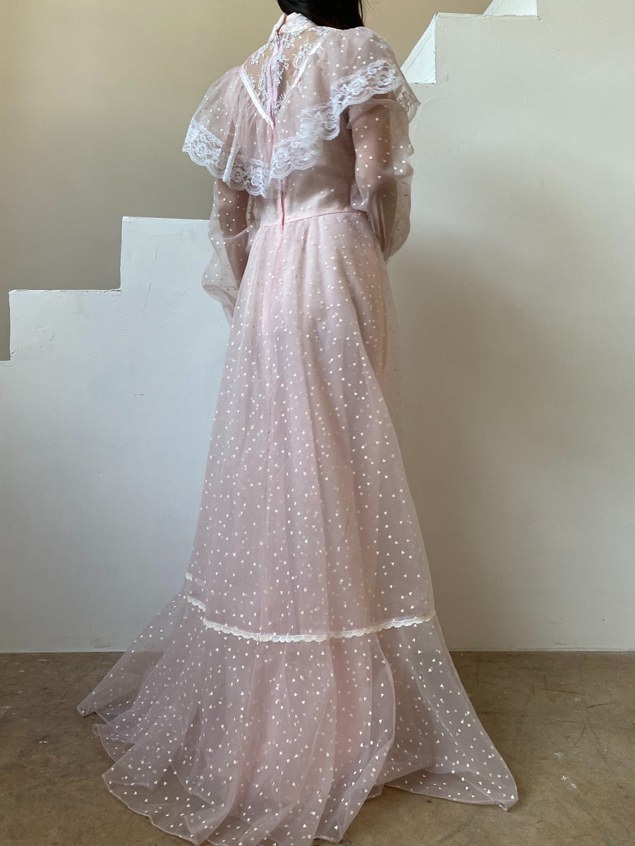 1970s Light Pink Flocked Prairie Dress - S/M