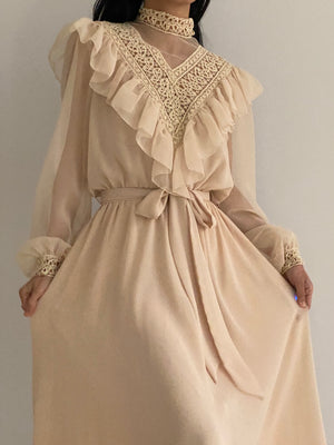 Vintage Chiffon Ruffle Dress - S-L
