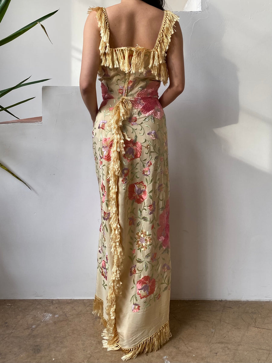 Piano Shawl Embroidered Dress - S