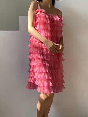 1960s Pink Tricot Ruffle Dress - S/M