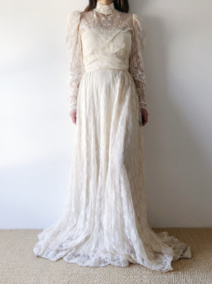 Vintage Nude Lace Gown - S