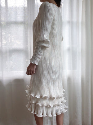 1980s Ivory Micropleated Dress - S/M