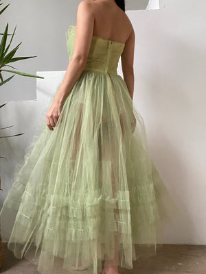 1950s Citrus Green Sheer Bottom Tulle Dress - XS/S
