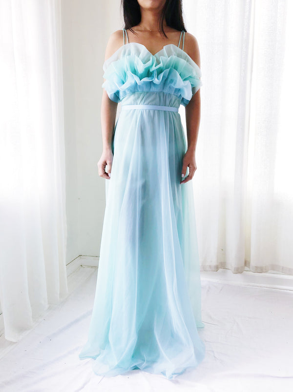 1960s Teal Sheer Tricot Chiffon Tulip Bust Gown - XS/S