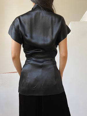 1940s Satin Peplum Top - XS/S