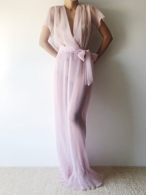 Vintage Lilac Sheer Chiffon Gown - S/M