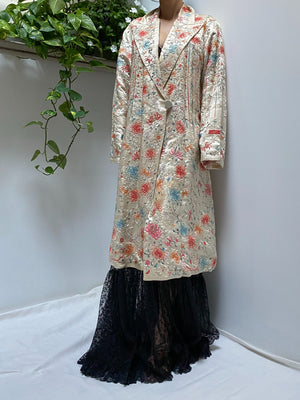 Rare Antique Silk Duster with Floral Embroidery - OSFM