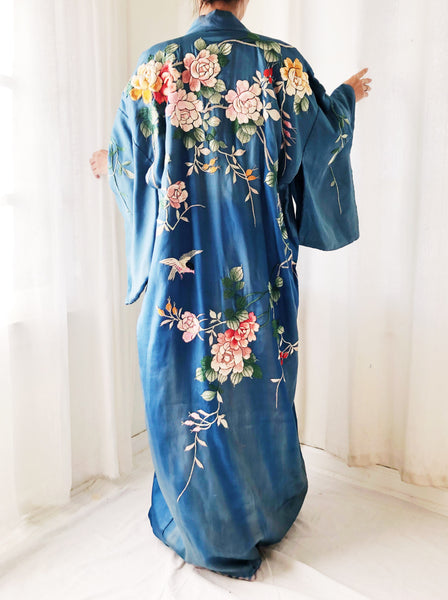 Antique Silk Embroidered Blue Kimono - One Size
