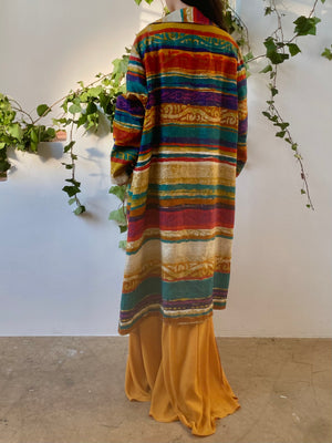 Vintage Abstract Linen Duster Dress  - M/L