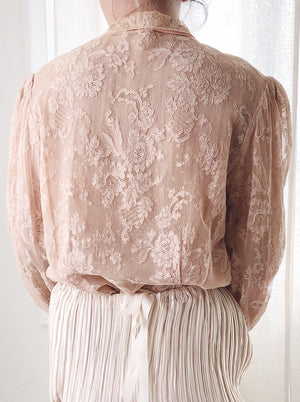 1940s Silk Alencon Lace Poet Sleeve Top - S/M