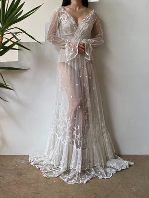 Antique Long Sleeves Tambour Gown - S