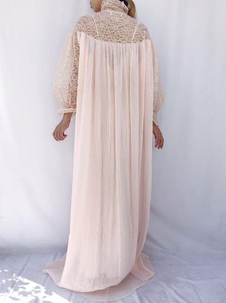 1960s Sheer Pink Pleated Dressing Gown - One Size