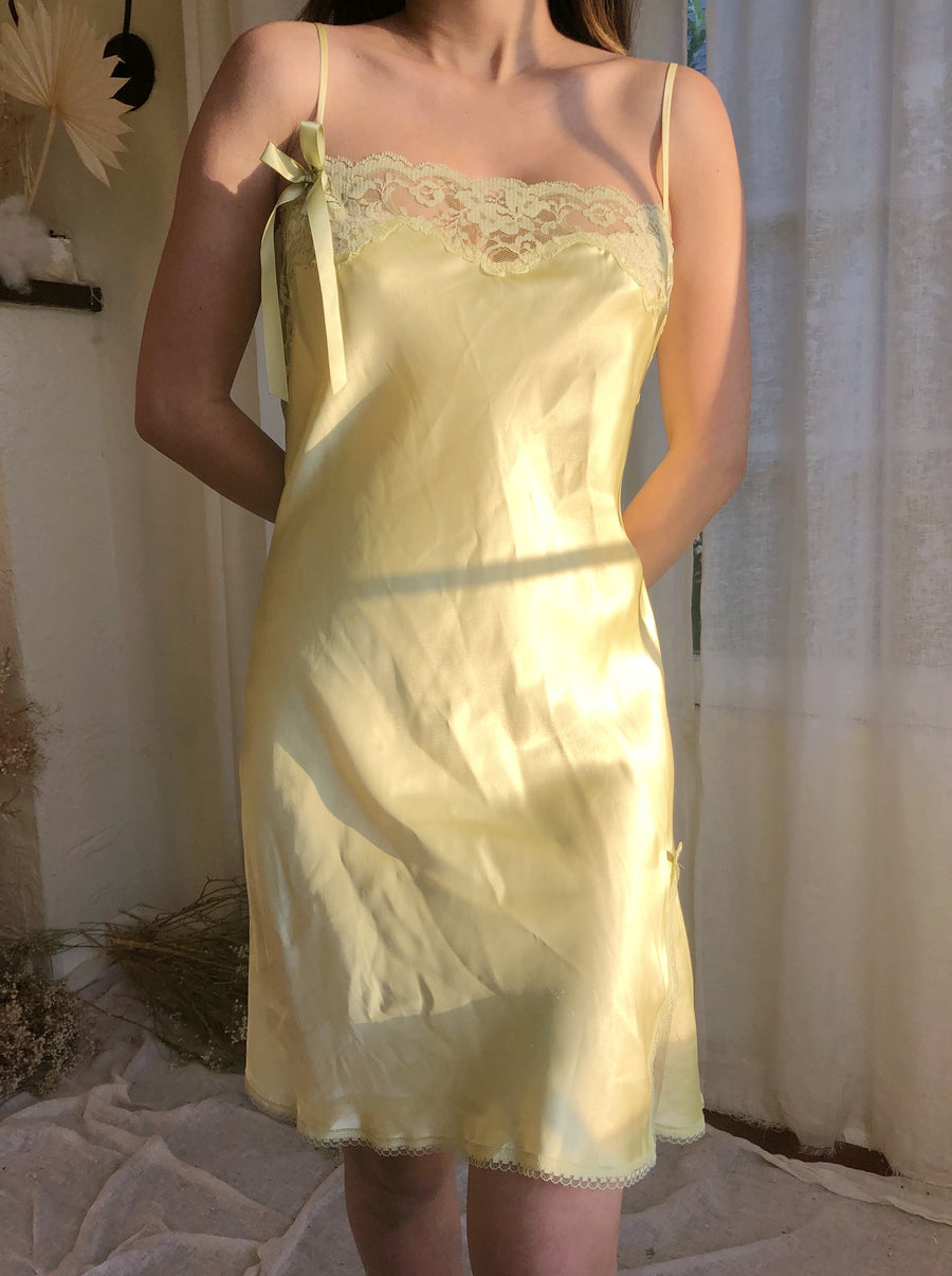 Vintage Chartreuse Short Slip Dress - M