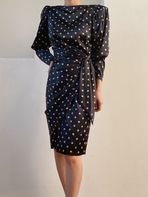 1980s Dolman Sleeves Moon Patterned Dress - XS