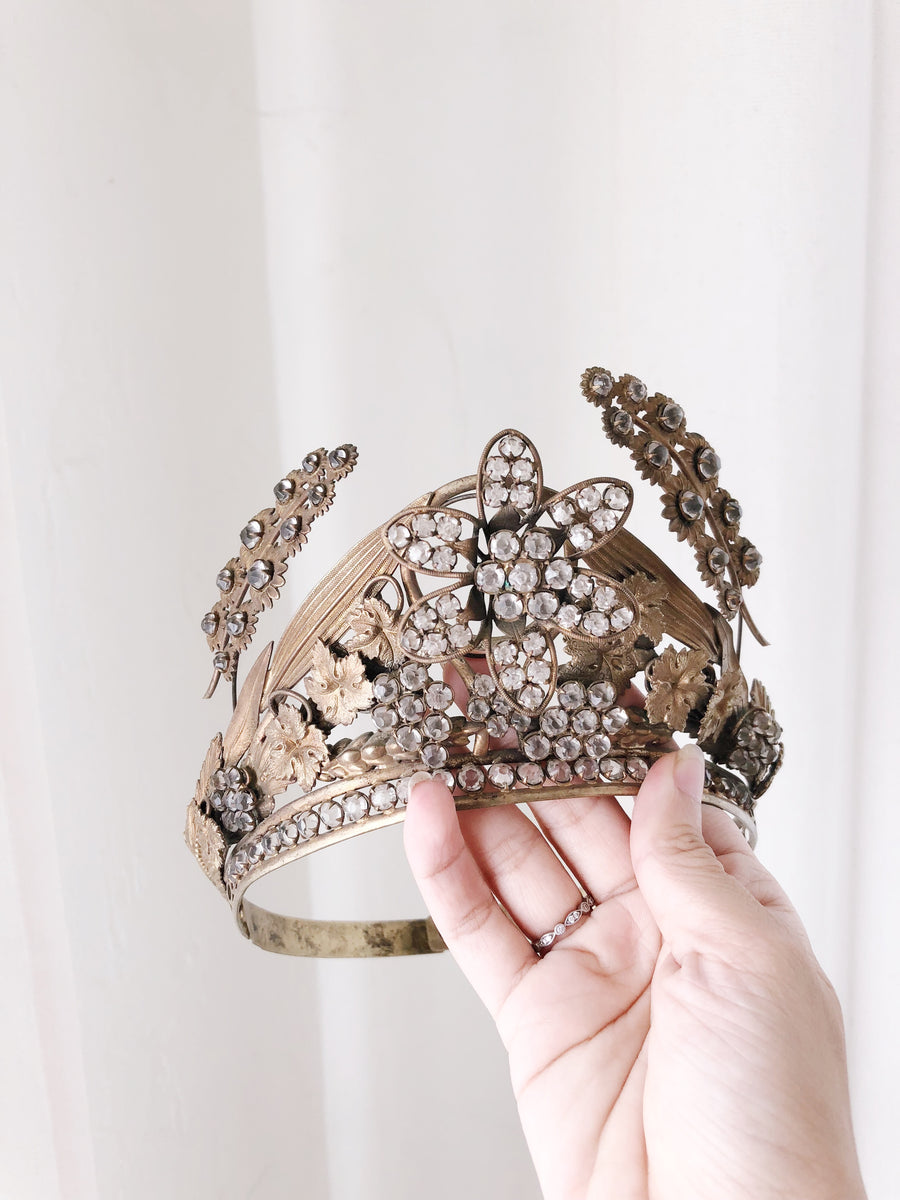 Antique Crystal and Metal Crown