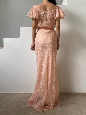 1930s Light Peach Silk Gown - S