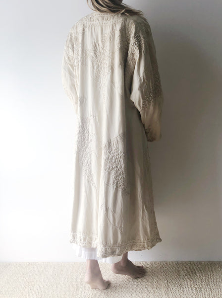 1920s Ivory Raw Silk Embroidered Robe - One Size