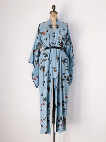 1940s Dusty Blue Silk Kimono with Leaves - One Size