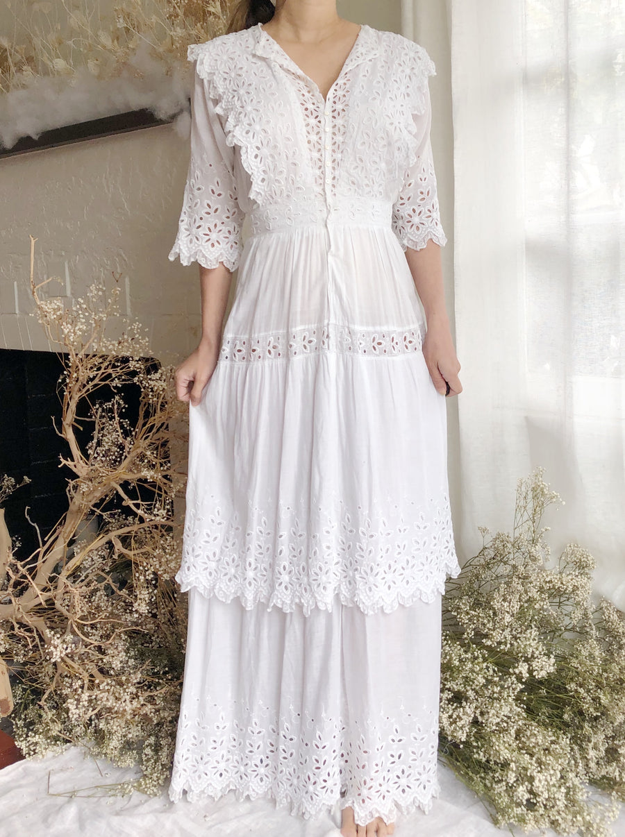 Antique Embroidered Cotton Eyelet Dress - XS