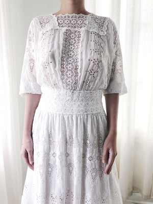 Edwardian Embroidered Whitework Lawn Dress - S/M