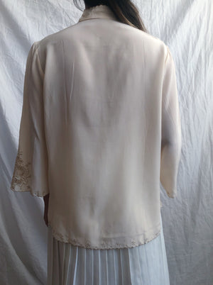 Vintage Ivory Embroidered Silk 3/4 Sleeve Blouse - S/M