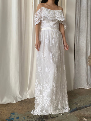 Vintage Tulle Embroidered Gown - S