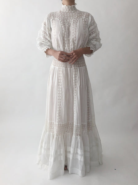 1900 Gibson Girl Cotton/Lace Gown - XS/S