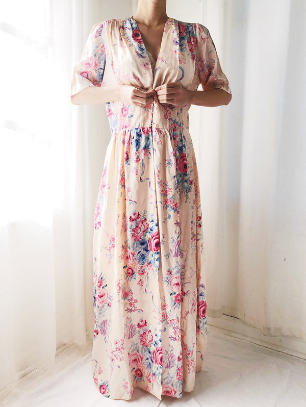 RESERVED 1940s Satin Floral Robe - M
