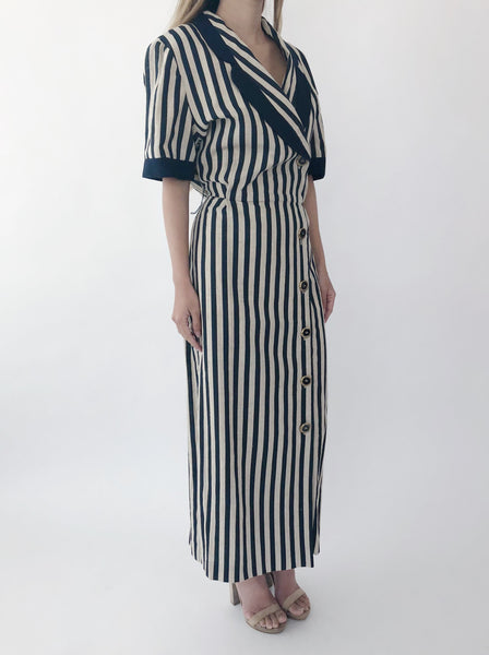 1980s Beige Striped Linen Duster Dress  - S/M
