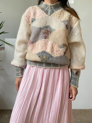 Vintage Pastel Mohair Abstract Sweater - S/M