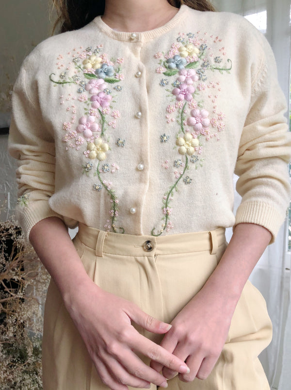 1950s/60s 3D Embroidered Buttercream Cardigan - M