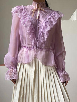 1980s Lilac Chiffon High Neck Top - M