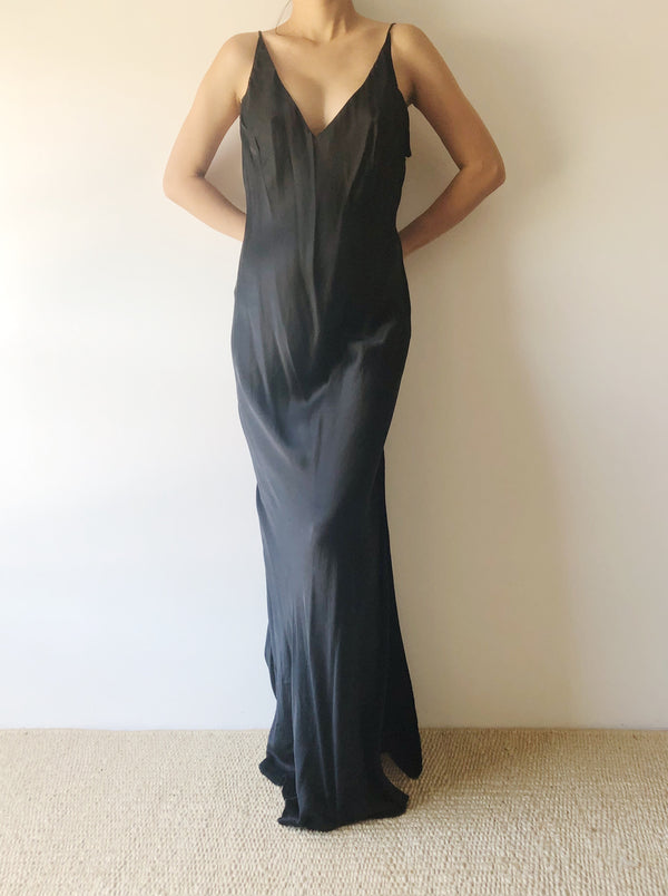 Vintage Black Silk Bias Cut Slip Dress - S/M